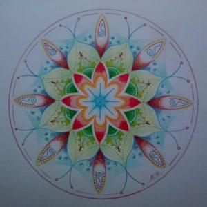 statische rozetmandala : hoe kijk jij naar wat er in je leven gebeurt, hoe ervaar jij je leven, wat zie jij....