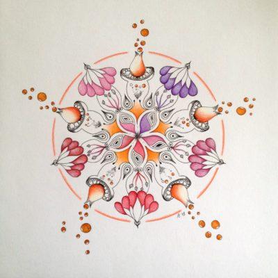 de 10-verdeling in de mandala, eerst zijn het allemaal strakke lijnen, heb daar beweging in aangebracht